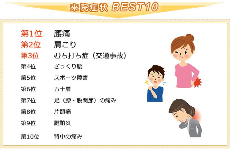 来院症状ベスト10 腰痛・肩こり・むち打ち症